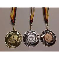 Fanshop Lünen Medaillen Set - Metall 50mm - Turnen - Gold, Silber, Bronze - Bodenturnen - Damen - Alu Emblem 25mm (Gold,Silber,Bronce) - Medaillenset - mit Medaillen-Band - (e219) -