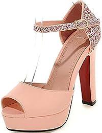 MHX Zapatos de Mujer Nuevas Sandalias de Pescado Lentejuelas Plataforma Impermeable con Tacón Alto (Color : Rosado, Tamaño : 36)