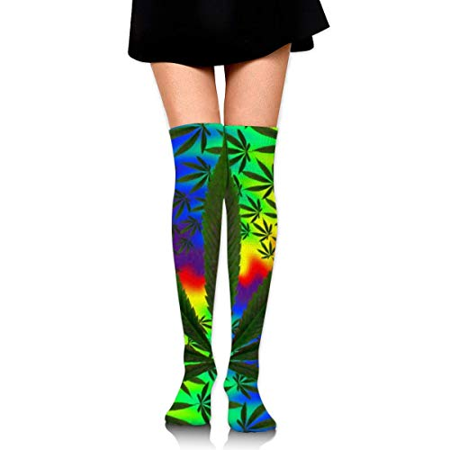 Cotton Thigh High Socks Thin Tube Sock with Psychedelic Multi Color Marijuana Leaf Weed Tie Dye Cosplay Over Knee High Socks Stocking for Women Teens Girls 60cm -
