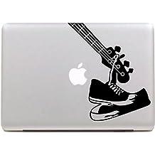 """Vati Hojas Guitar extraíble Diseño fresco Sticker Decal la piel del vinilo de Arte Negro para Apple Macbook Pro Aire Mac 13 """"15"""" pulgadas / 13 Unibody 15 """"pulgadas portátil"""