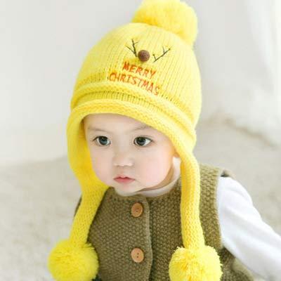 �r Kinder,Strickmütze Boy Cute Deer Garn Strickmütze Season Baby Plus Velvet Warmer Gehörschutz, Fluorescent Yellow Plus Velvet ()