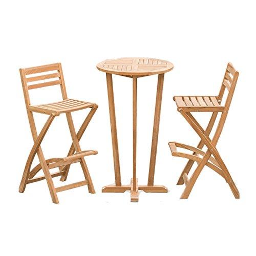Esstischstuhl Gesetzt, Bar Cafe Bar Theke Holz Klapptisch Und Stühle Kombination Teak Patio Bar Im Freien Teakholz Möbel Set Theke Kombination (3er Set) - Schmiedeeisen Patio-möbel-sets