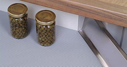 Antirutschmatte Schubladeneinlage geriffelt Küche Breite: 90cm Meterware  1,5m Länge silbergrau