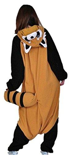Imagen de abyed kigurumi pijamas unisexo adulto traje disfraz adulto animal pyjamas,mapache adulto talla l para altura 167 175cm alternativa