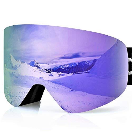 devembr PRO Maschera Snowboard Uomo & Donna, Occhiali da Sci Lente Magnetica, Anti-Nebbia, Compatibile con Casco, UV Protezione, Maschere da Sci per Portatori di Occhiali (Rosa, VLT 16%)