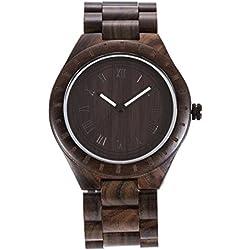 XY Fancy Herren Holz Quarz Lichtzeiger Armbanduhr Sandelholz Uhr Geschenk, Schwarz Rot Fuchsie Braun Zebraholz