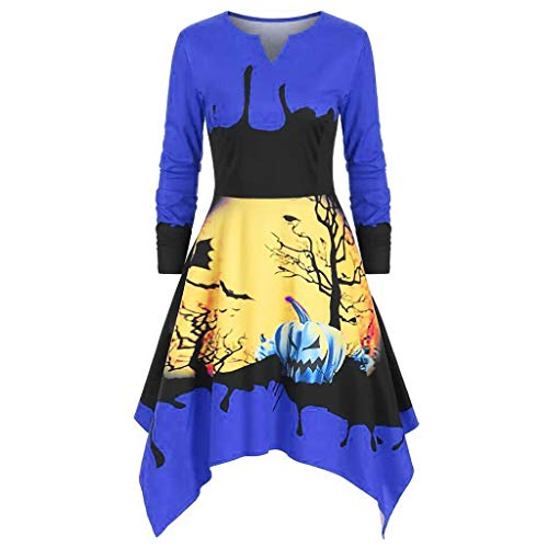FRIENDGG Damen Herbst Vintage Langarm Halloween 50 S Hausfrau Abend Party Abendkleid Mode Elegante KüRbis Print Rock Casual Kleid