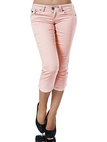 K900 Damen Capri Jeans Hose Damenjeans Caprihose Caprijeans Bermuda Dicke Naht, Größen:42 (XL), Farben:Lachs