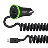 Belkin 3.4A Lightning In-Car Fast Phone Charger with Micro-USB Spiral Cable and Integrated USB Port for Samsung/ Samsung Galaxy and Nokia, 40% Faster Charging - Black