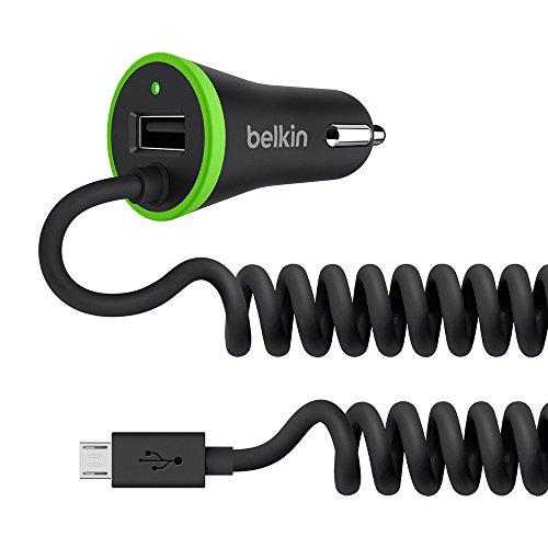 Belkin - Boost Up - Chargeur Allume-Cigare avec Câble Micro-USB Spirale Intégré et Port USB 5W/3.4A pour Smartphones et Tablettes - 1.2m - Compatible Samsung S8/S8+ - Noir