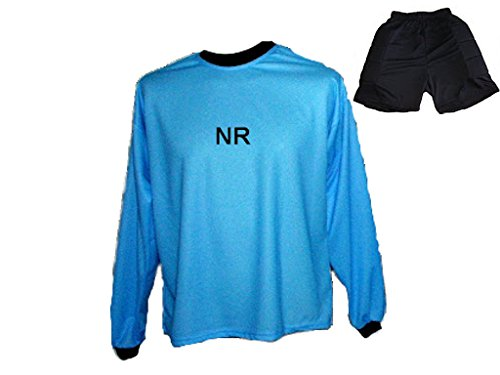 Torwart Trikot gepolstert Blau Kurze TW Hose mit Wunschname Nummer Kinder Größe 152