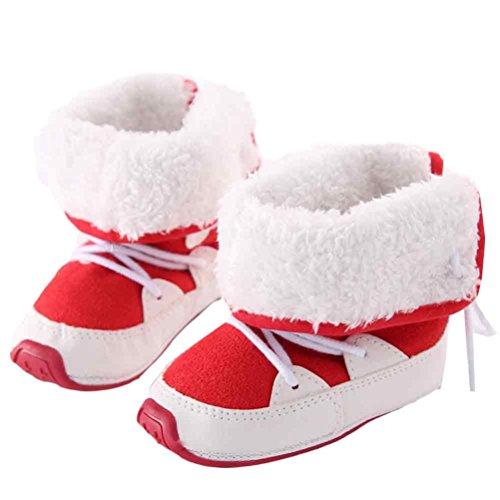 Hunpta Baby Schneestiefel warme weiche Sohle weiche Krippe Schuhe Kleinkind Stiefel (Alter: 6 ~ 12 Monate, Braun) Rot