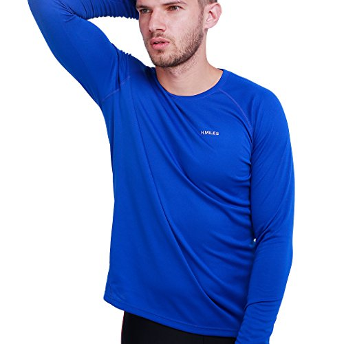 cc128223774c H.MILES Mens Long Sleeve Running Top Thermal Tech Performance T Shirt blue M