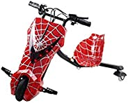 Limodo 3-wheel Electric Drift Scooter Red Spiderman 36V with Helmet Pad set, Knee and Elbow Pads 36V, E400