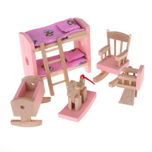 FlyRay Conjunto De Habitación Mueble De Madera para Casa De Muñecas Juguete Niños