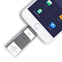 ‏‪3 in 1 OTG Pendrive High Speed USB 3.0 Memory Stick Pen Drives USB Flash U disk for iPhone/iPad/Android Phones/PC (256GB, Silver)‬‏