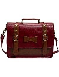 ECOSUSI Women Vintage Synthetic Messenger Bag Satchel School Bag Large