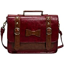 Ecosusi–Bolso de escuela de las mujeres sintético Vintage Messenger Bag Bolsa Grande