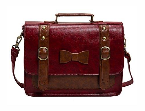 ECOSUSI Damen Umhängetasche Vintage Aktentasche Messenger Tasche 33,3 x 10,2 x 25,4 cm (Leder Damen Rot Aktentasche)