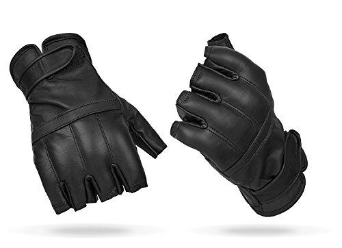 Blacksnake® Halbfinger Defender Handschuhe mit Quarzsandfüllung Fingerlose Einsatzhandschuhe aus Echtleder mit Sandfüllung Schwarz L