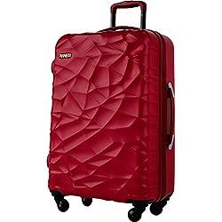 "Pianeta ""Islandia"" resistente policarbonato ABS mezcla rígida maleta 4 ruedas en 3 colores (negro, baya rojo, azul) (L red berry)"