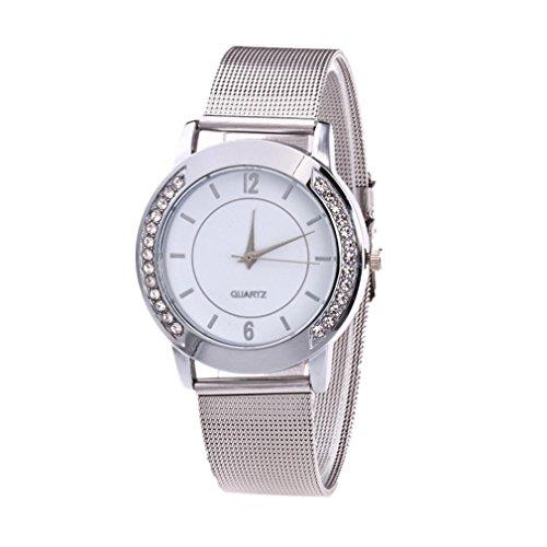 Preisvergleich Produktbild Goodsatar Modische Frau Kristall Rostfreier Stahl Analog Quarz Armbanduhr (A)
