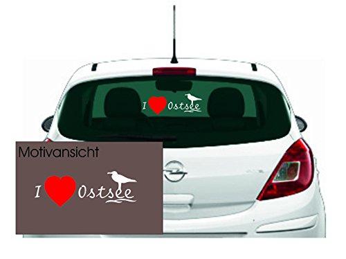 KFZ Aufkleber - 'I Love Ostsee' mit Möwe Autoaufkleber// Farben- und Größenwahl (Weiß/Rot - 600 mm x 225 mm) -