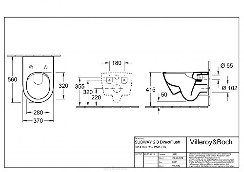 Villeroy und Boch Subway 2.0 Wand-Tiefspül-WC, spülrandlos DirectFlush,...