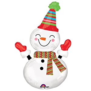 Amscan International 3145401 Smiley Snowman Super Shape - Globos de Papel de Aluminio