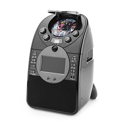 auna ScreenStar • chaîne karaoké pour enfants • écran TFT 9 cm • 2 microphones • caméra frontale • enceintes intégrées • lecteur CD+G • port USB • MP3 compatible • effet écho • fonction A.V.C. • noir