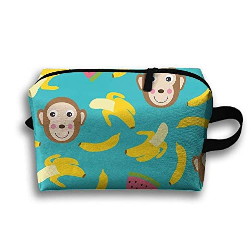 Bananas and Monkeys Full Print Lightweight Travel Cosmetic Pouch Bag Interesting Makeup Bag Large Capacity for Travel Home Toiletry Purse Pouch with Zipper Monkey Telefon