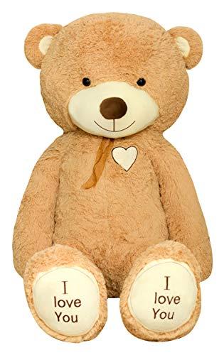 TEDBI Teddybär 200cm   Farbe Hellbraun   Groß Teddy Bear Plüschbär Stofftier Kuscheltier Plüschtier XXL Teddi Bär mit Stickerei I Love You Ich Liebe Dich