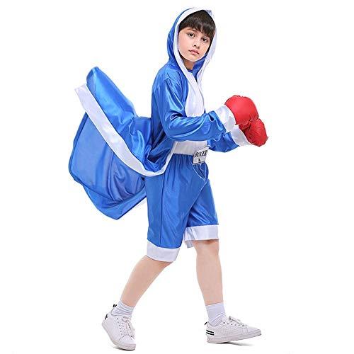 LOLANTA Jungen Boxen Kapuzen Kostüm Kinder Halloween Knock Out Boxer Kostüm Robe + Overall + Handschuh Set (146/152 (10-11 Jahre), blu) (Boxen Kostüm Robe)