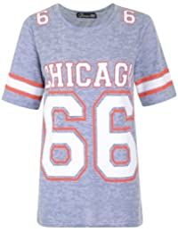 NEW LADIES NUMERIC #66 CHICAGO AMERICAN FOOTBALL VARSITY PRINT T-SHIRT TOP VEST (S/M (UK 8-10), BLUE)