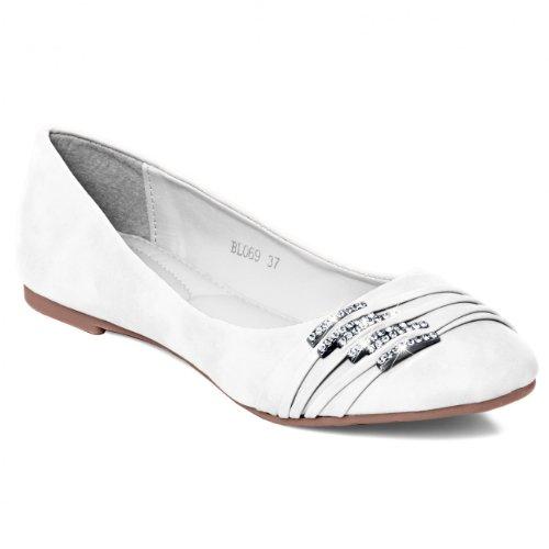 CASPAR Damen Schuhe / Ballerinas mit kleinen Strass-Schnallen SBA004, Farbe:weiss;Größe:EU38/UK5/US7 (Strass-schnallen Kleine)