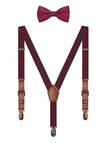 Irypulse Kinder Hosentr?ger 3 Clips Y-Form, Fliege Set Elastisch G¨¹rtel mit Leder Verbindung und Kupfer Clips Design - Burgund