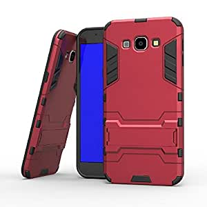 Heartly Samsung Galaxy A8 A800F Back Cover Graphic Kickstand Hard Dual Rugged Armor Hybrid Bumper Case - Hot Red