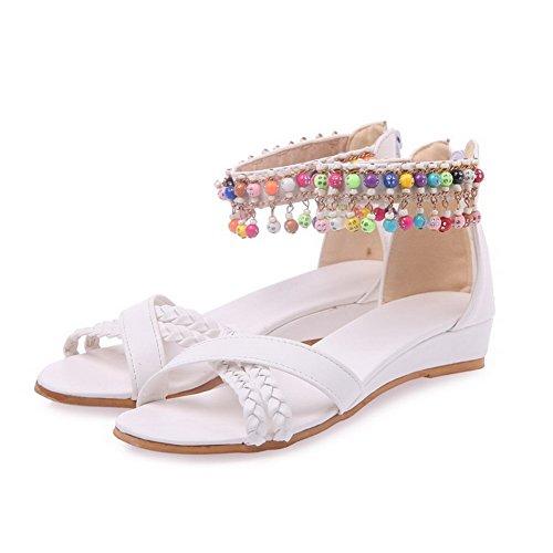 VogueZone009 Donna Cerniera Finta Pelle Scamosciata Tacco Basso Punta Aperta Heeled-Sandals Bianco