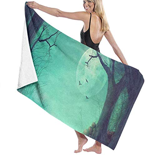 alloween Spooky Forest Dead Trees Pumpkins Personalized Custom Women Men Quick Dry Lightweight Beach & Bath Blanket Great for Beach Trips, Pool, Swimming and Camping 31