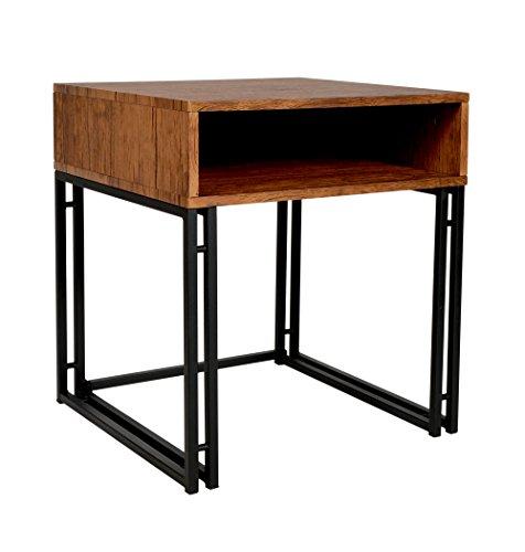 ts-ideen Table basse Design Table d'appoint Imitation bois Commode en métal 51 x 51 cm
