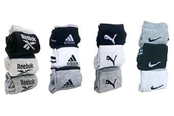 realgen Men's Poly Cotton Socks Multicolour_Free Size(Pack of 12)