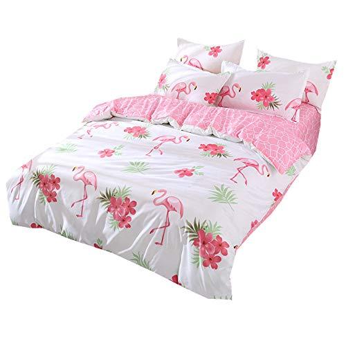 220x240cm Luxus 3 Stücke Flamingo Bettwäsche Set Weiß Mikrofaser Bettbezug Set mit Kissenbezug für Mann Frau (Flamingo & Blume 2, 220x240cm) (Luxus Bettwäsche-set Sterne)