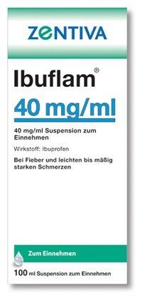 Zentiva Ibuflamin 4% Spar-Set 2x100ml Suspension zum Einnehmen bei leichte bis mäßig starke Schmerzen und Fieber.