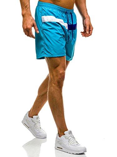 BOLF Herren Badehose Shorts Bermudas Kurzhose Fitness Sporthose Print Männer Jungen Motiv Badeshorts Bermudashorts viele trendige Farben Y729 Hellblau