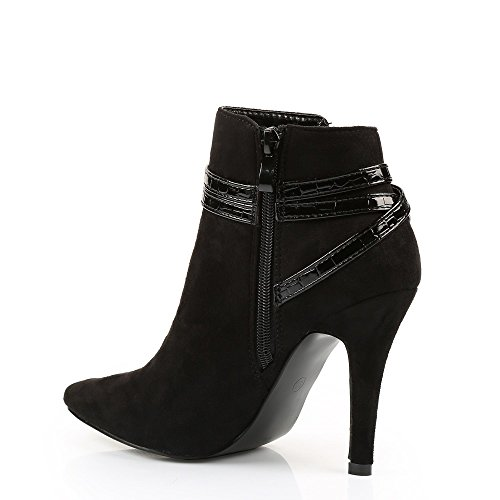 Ideal Shoes–Stiefelette Effekt Wildleder Einer geschmackvollen Lochkoppel Stil Reptile Pina Schwarz - Schwarz
