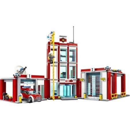 LEGO CITY Fire Station 60110,Slide down the fire pole just like a real firefighter then use the cherry picker, helicopter and all the tools to fight the fire by LEGO