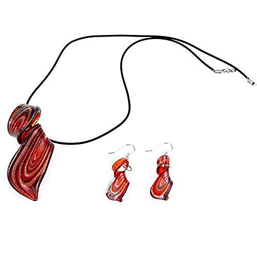 Skyllc® Conjunto de Collar y Pendientes Cristal Murano Espiral Rojo