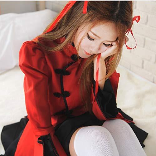 Zu Japanische Halloween Anime Kostüm - Butterfly BB Cosplay chinesischen Stil Tanz Prinzessin Prinzessin Kleid Magd Kostüm Lolita und Wind Vibration Ärmel Kimono japanischen Anime Kostüm,Rot,L