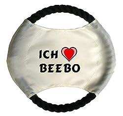 Personalisierter Hundefrisbee mit Aufschrift Ich liebe Beebo (Vorname/Zuname/Spitzname)