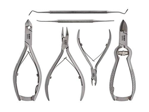 Nagelzange -Podologie Instrumente Set Maxi 6-teilig-Fußpflegeinstrument - 3x Nagelzange für starke Nägel-Hautzange -Eckenheber -Eckenfeile- inklusive Schutzkappen!